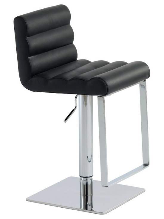 Nuevo Living - Fanning Adjustable Stool, Black - Chrome and leather never looked so good. The combination in this hydraulic-lift stool is super sophisticated and perfect for the modern home bar. All that's missing is a chilled martini.
