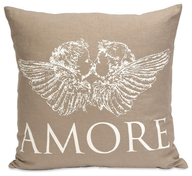 Neutral Linen Amore Angel Pillow transitional-tabletop
