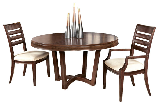 American Drew Miramar 3 Piece Round Dining Room Set With Wood Chairs Tradit