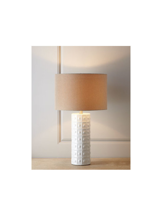 Horchow - White Ceramic Lamp - Exclusively ours. So simple and yet so elegant, this lamp starts with a cylindrical base in go-with-everything white, adds dotted grid embossing for texture, and finishes with a complementary neutral shade. It's perfect for turning dark corners into c...