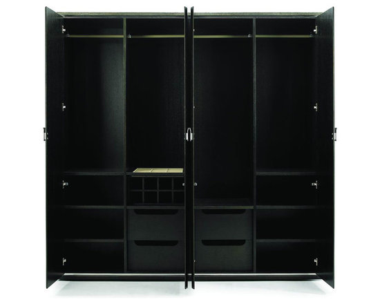LIMITLESS - CARPOS - Carpus closet (WHW-5002) Luxury and elegance is defined by Carpus' attention to detail. From the molded design of the stainless steel handles to the originality of the stainless steel band detail, framing the doors. All these details reference the Iris vanity table and highlight the sharpness of the design. Inside you will find a refined configuration of hanger rods and shelves for an accommodating wardrobe.