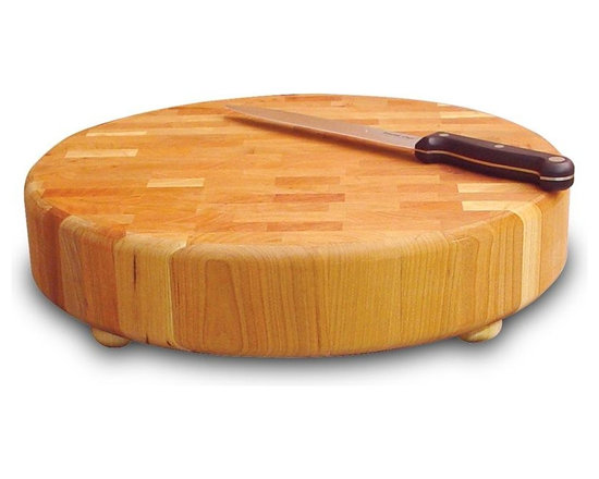 Catskill Craftsmen - Round Slab Chopping Block w Natural Oil Finis - Perform professional grade chopping, dicing, cutting and more with this Catskill Craftsmen board. It has non-slip rubber feet for superior stability. End grain ensures it won't dull your knives, while oil finish gives board a semi-glossy appearance and everlasting protection. Butcher Block Collection. Made of US Hardwood from the Catskill Mountains. Oil finish. End grain won't dull knives. Wooden feet with non-slip rubber pads. 15.36 in. Dia. x 3 in. H (17 lbs.). Made in the USAA butcher's block for the counter. The ultimate end grain domestic hardwood chopping block for serious chefs everywhere.