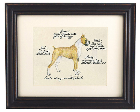 Ballard Designs - Boxer Dog Print - Our Boxer Dog Print was created by the dog-loving, husband and wife team of Vivienne and Sponge. The Boxer is known for being loyal, affectionate and full of energy. Each Boxer portrait is hand colored and embellished with notes on the breed's special characteristics. Printed on antiqued parchment, signed by the artists and framed in antique black wood with eggshell mat and glass front. Boxer Dog Print features:Hand colored & signed . Printed on parchment. Eggshell mat. Antique black frame