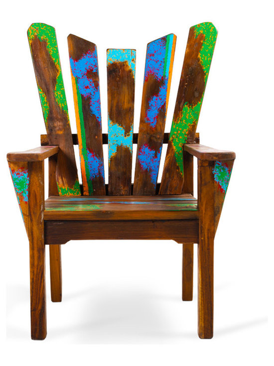 EcoChic Lifestyles - Dock Holiday Reclaimed Wood Arm Chair - The Dock Holiday Chair has a regal yet relaxed profile, turning a backyard deck into a pastoral scene. The reclaimed wood show its true age, with hints of color from past lives highlighting the angled back and seat. A chic companion for times of conversation or contemplation.