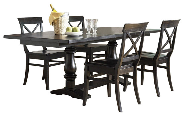 Liberty Furniture Sundance Lake 5 Piece 84x40 Dining Room Set in Black traditional-dining-sets