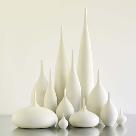 12 white ceramic modern bottle vases by sara paloma. Black Bedroom Furniture Sets. Home Design Ideas