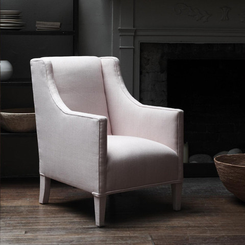 Pilmlico Bedroom Chair, Duck Egg Linen contemporary-armchairs