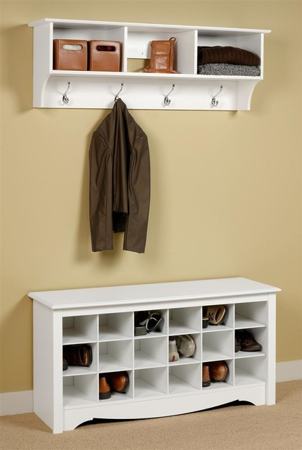 Entryway Wall Mount Coat Rack w Shoe Storage - Contemporary - Accent And Storage Benches - by ...