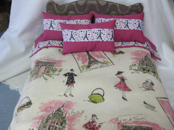 Cute 5-piece American Girl Doll Bedding, Paris Theme by Cuddle Bug Baby contemporary-kids-bedding