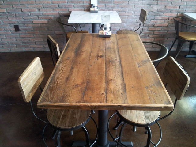 Reclaimed wood restaurant tabletops traditional dining for Reclaimed wood flooring los angeles