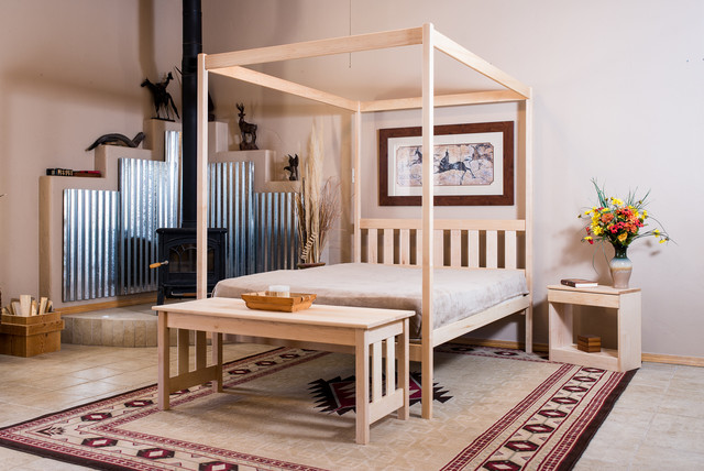 Four Poster Queen Canopy Bed rustic-beds