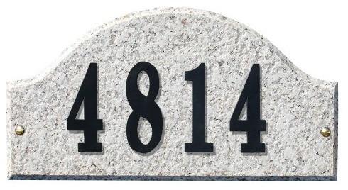 Solid Granite Address Plaque, Ridgecrest Arch, Autumn Leaf Natural modern-house-numbers