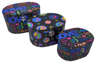 Set of 3 Peace and Love Hippie Themed Oval Shaped Boxes contemporary-storage-boxes