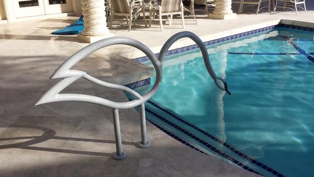 Inground Pool Handrails White Iron Handrails For Inground Swimming Pools Staircase Swimming