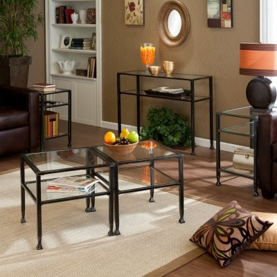 Southern Enterprises Metal Shadow Box Table Collection modern-side-tables-and-end-tables