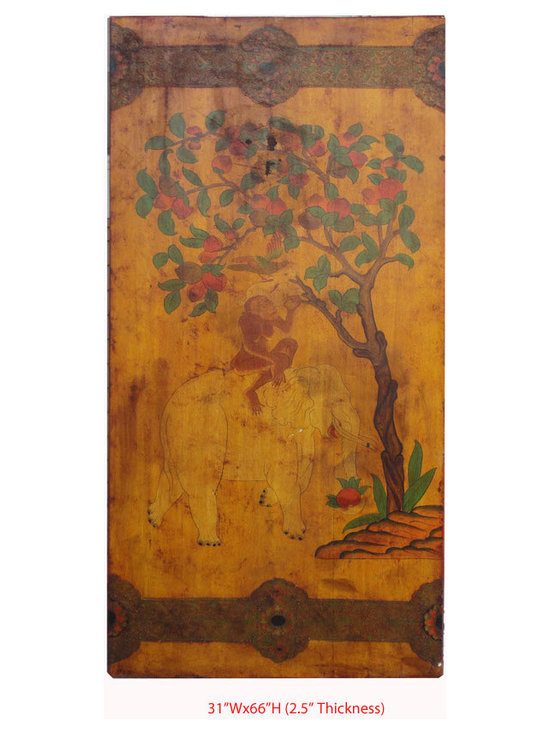 Tibetan Antique Monkey Elephant Painting Door Screen Panel - This is a Tibetan antique door which is made of elm wood. It was a original door in Tibet. Right now, it can be used as screen panel to decorate your house.