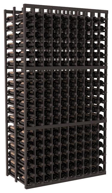 10 Column Double Deep Cellar in Redwood, Black + Satin Finish contemporary-wine-racks