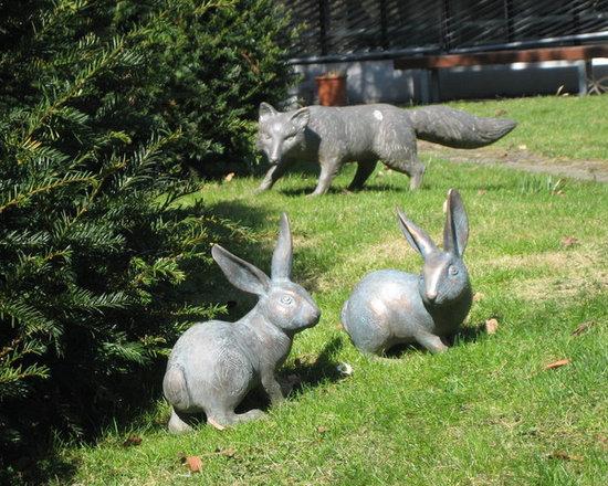 Bronze Statues - Fox & Rabbits -