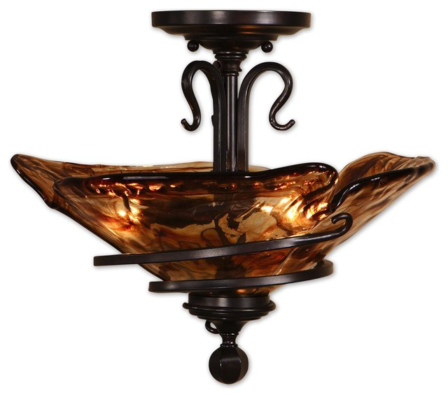 Vitalia Oil Rubbed Bronze Semi Flushmount craftsman-flush-mount-ceiling-lighting