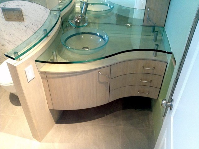 CUSTOM CURVED BAMBOO BATH VANITY - Contemporary - los angeles - by Serrao Cabinets & Design