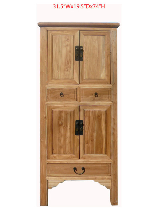 Elegant Chinese Antique Ming Style Natural Wood Cabinet Armoire - Look at this Chinese antique cabinet which is made of solid elm wood. Especially, the front of the cabinet come with very nice Ming style moon face hardware design on it.
