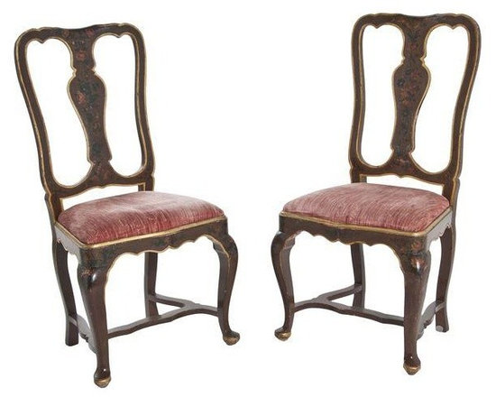 "Pre-owned Venetian Velvet Chairs - A Pair - A lovely pair of Venetian chairs with stretcher and��velvet seats, c. 1900.    Seat height: 19""."