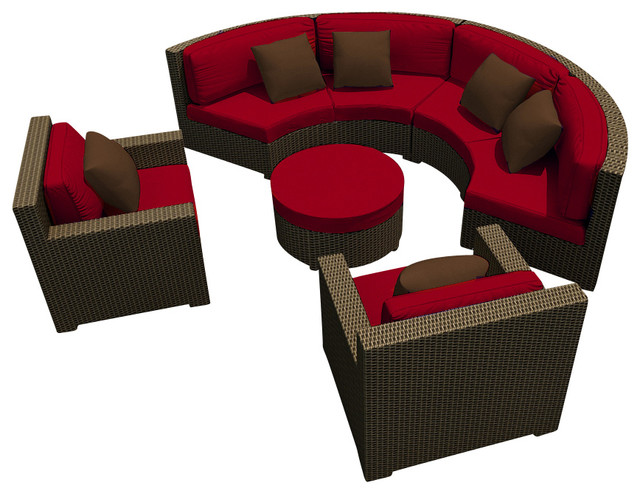 Hampton Radius 5 Piece Outdoor Sectional Set, Chocolate Wicker and Ruby Cushions modern-patio-furniture-and-outdoor-furniture