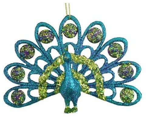 "5.5"" Fan-Tail Regal Peacock Sparkling Mica Glitter Christmas Ornament eclectic-christmas-ornaments"