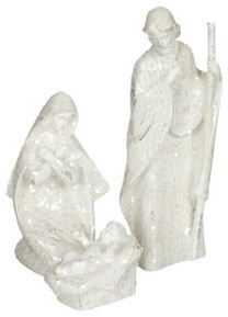 White Glitter Holy Family Nativity Statue Set modern-christmas-decorations