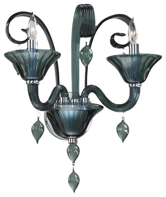 Treviso 2 Light Smoked Blue Gray Murano Glass Wall Sconces transitional-wall-lighting