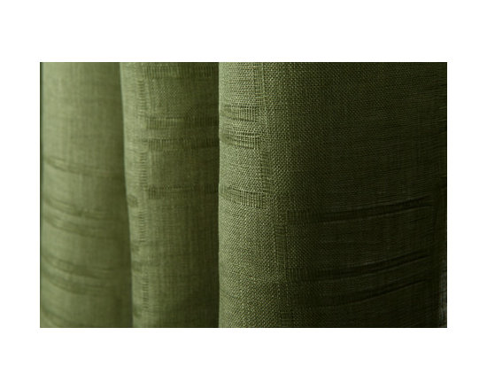 Linen Sheer Horizontal Stripe Drapery in Olive - Linen Sheer Horizontal Stripe Drapery Fabric in Olive Green. A 100% Belgian linen ideal for drapes, roman shades, curtains, and bed canopy.