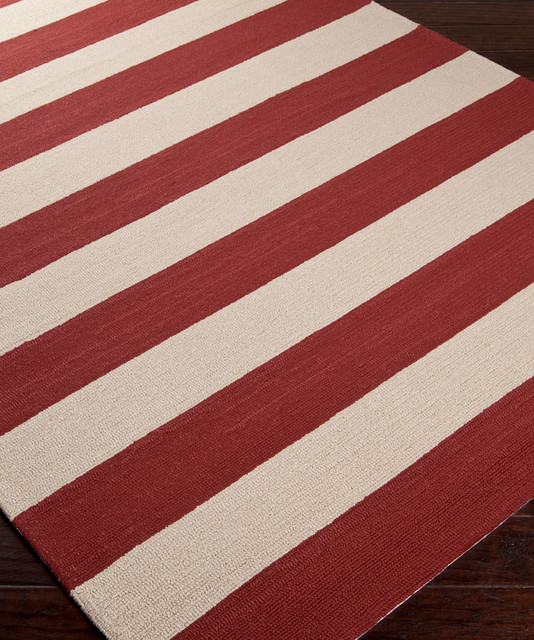 Rain Stripe Rug Red Eclectic Outdoor Rugs by Bliss