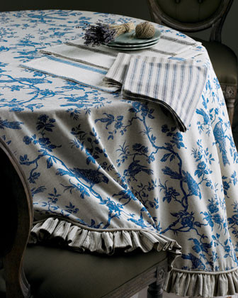 French Laundry Home 90 Round Toile Cloth traditional-nightstands-and-bedside-tables