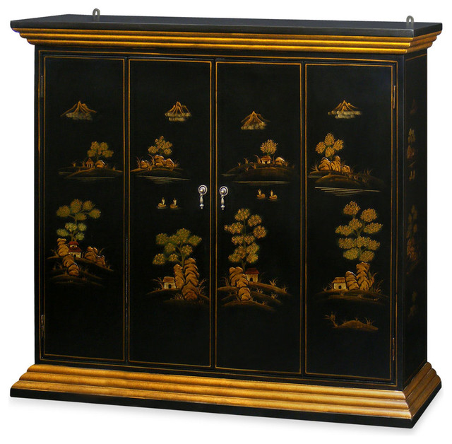 Chinoiserie Scenery Motif Wall TV Cabinet - Asian - Display And Wall Shelves - by China ...