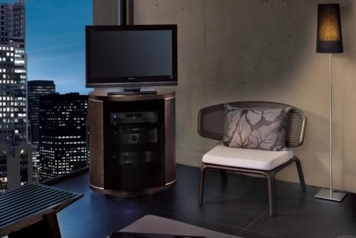 Revo Tall Flat Screen 30 TV Stand In Espresso On Oak