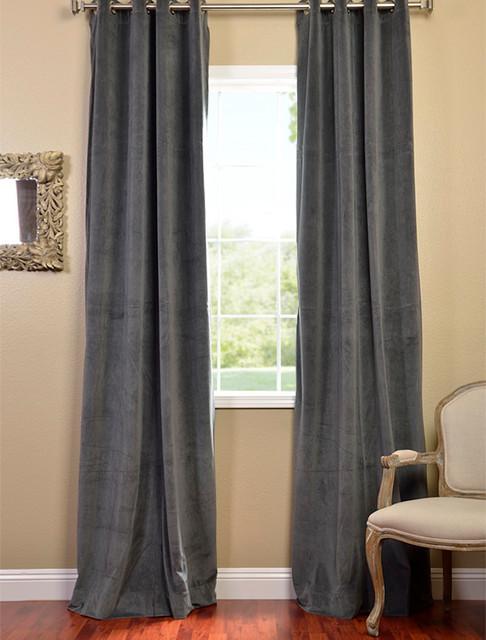Natural Grey Grommet Velvet Blackout Curtain