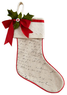 French Laundry Home Script Christmas Stocking, Plain traditional-holiday-decorations