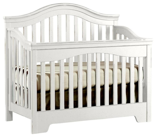 Built To Grow Bravo Crib - French White Vintage Weathered Finish transitional-cribs