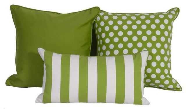 SOLD OUT Green White Throw Pillows in Sunbrella 675