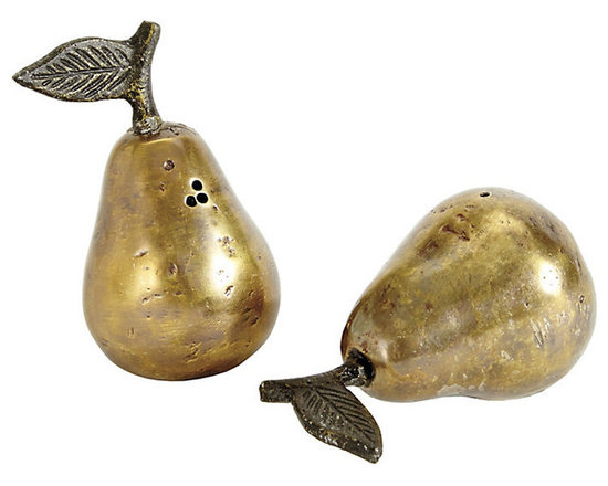 Ballard Designs - Pear Salt & Pepper Shakers - Pears have always been a Ballard favorite as a classic symbol of welcome and bounty. Our Pear Salt & Pepper Shakers are handmade of cast aluminum with antique brass finish for an old world look.