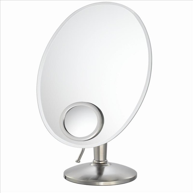 Mirror Image 80170 Oval Vanity Mirror Nickel - Contemporary - Bathroom Mirrors - by PoshHaus