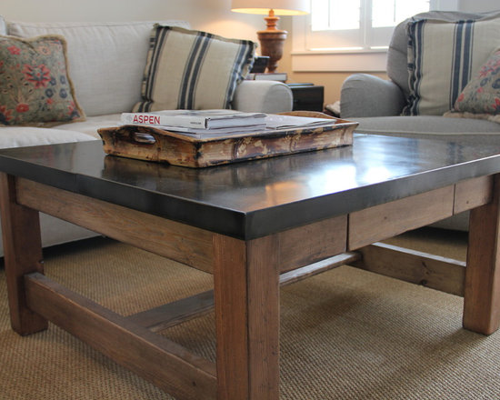 Coffee Table - Aged Pine Coffee table fastened with a Zinc top.    One side has a pullout drawer and the other side is designed to slide an ottoman underneath.  (see second photo)