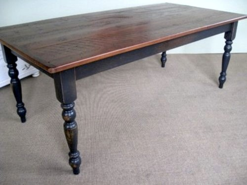 Very Rustic Farm Table With Antique Walnut Finish Farmhouse Dining Tables Boston By