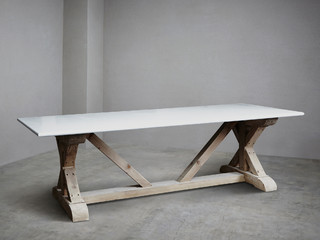 Carrara Marble Topped Refectory Stone Table Rustic Dining Tables London