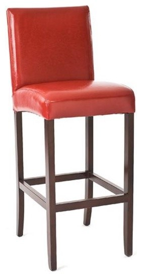 Zentique Leather Bar Stool Red Traditional Bar Stools