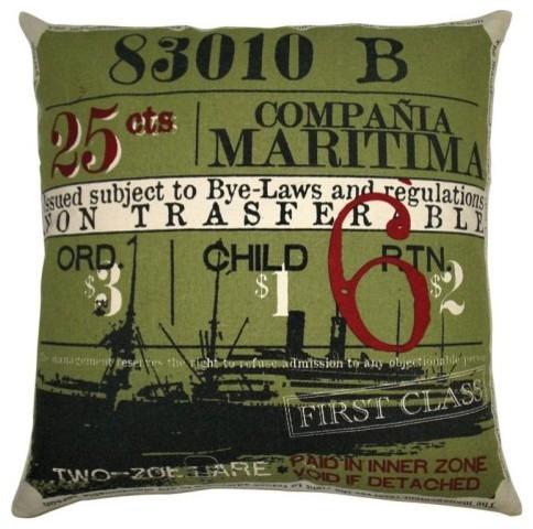Koko Company Ticket Olive Decorative Pillow eclectic-decorative-pillows
