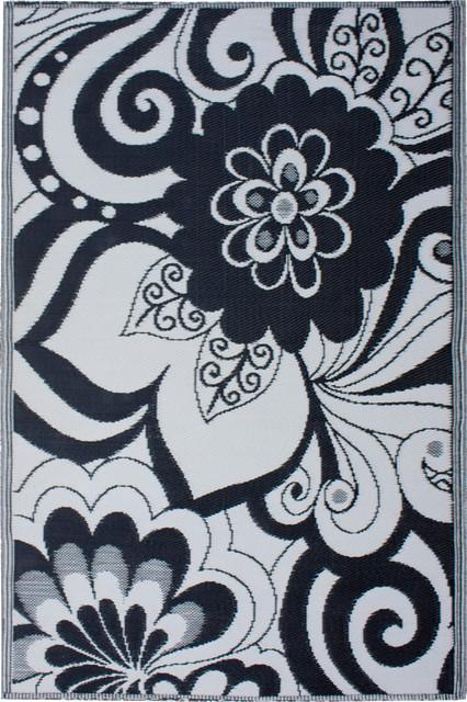 Indoor/Outdoor Maui Rug, Black & Cream, 4x6 tropical-outdoor-rugs