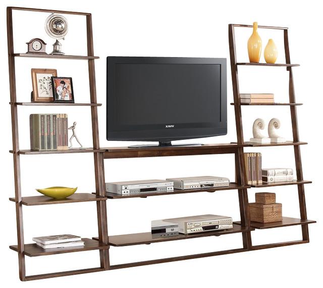 Riverside furniture lean living 3 piece tv stand set in for Modern tv set furniture