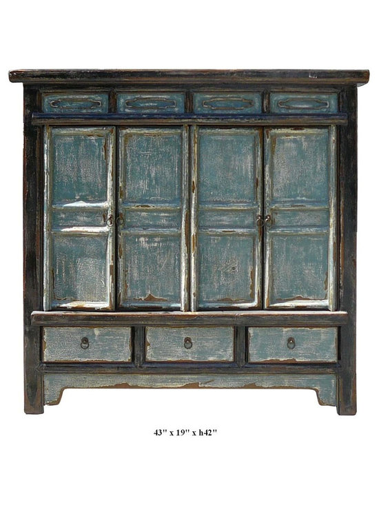 Accent Cabinets - This side cabinet is made of old solid elm wood and has very beautiful slate grey color.