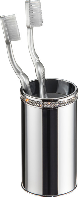Carmen Table Toothbrush Holder Polished Chrome Swarovski Crystals Contemporary Toothbrush